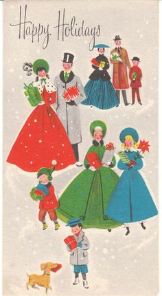 Vintage Christmas Card Old Fashioned People with Gifts Dachshund Mix Dog