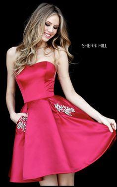 cde5093979 Berry Sherri Hill 51390 Short Satin Homecoming Dress Sherri Hill Short  Dresses