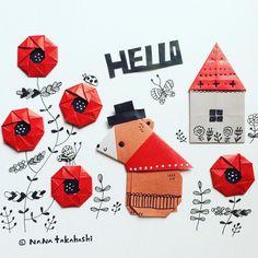ハローハロー、くまさん。 Hello Bear. #origami #papercraft #illustration #paperflower #bear #house #hat #nanatakahashi #折り紙 #イラスト #ペーパークラフト #ペーパーフラワー #くま #小さいおうち #ぼうし #たかはしなな