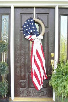 Items similar to American Flag, Patriotic Wreath with Bow, wreath form is a jute wrapped, straw wreath. on Etsy Patriotic Crafts, Patriotic Wreath, July Crafts, Patriotic Decorations, Festival Decorations, Patriotic Party, Patriotic Clothing, Americana Crafts, Summer Crafts