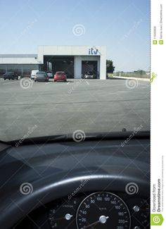 ITV Facilities or Inspection Station in Spain. View from the inside of the car