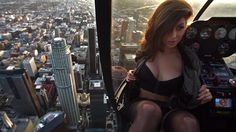 Take a daring (and sexy) ride in a helicopter with model Tianna Gregory