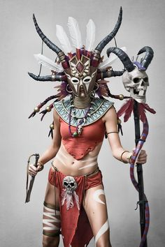 Cosplayer: Methyl Ethyl Cosplay Photographer: Bokeholics Character: Witch Doctor From: Diablo III Country: USA Voodoo Halloween, Halloween Costumes, Couple Costumes, Larp, Witch Doctor Costume, Voodoo Costume, Diablo Cosplay, Nuit D'halloween, Estilo Tribal