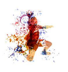 Vector watercolor illustration of a handball player , Handball Players, Watercolor Portraits, Watercolor Illustration, Pin Collection, Impressionism, Landscape Paintings, Vector Art, Photo Editing, Stock Photos