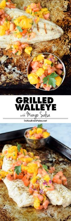 A simple healthy recipe for grilled walleye topped with homemade mango salsa - t. - A simple healthy recipe for grilled walleye topped with homemade mango salsa – the flavors of summ - Easy Healthy Recipes, Paleo Recipes, Easy Meals, Xmas Recipes, Muffin Recipes, Healthy Meals, Dinner Recipes, Grilling Recipes, Seafood Recipes