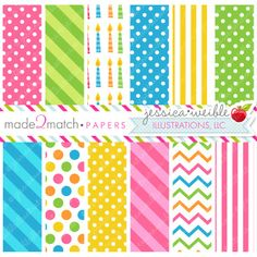 Birthday Owls Papers - JW Illustrations - pretty birthday digital papers