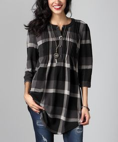 Look what I found on #zulily! Charcoal Plaid Notch Neck Pin Tuck Tunic by Reborn Collection #zulilyfinds