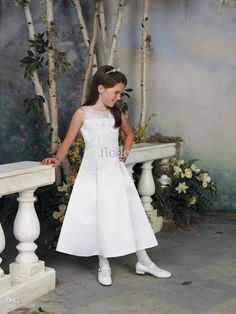 A-line Bateau Neck Ankle Length Applliques Beading White Satin Pageant Dresses for Girls Flowers Girl Dresses with Jacket Online with $82.11/Piece on Flodo's Store | #DhgatePin