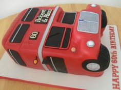 Red double decker bus cake