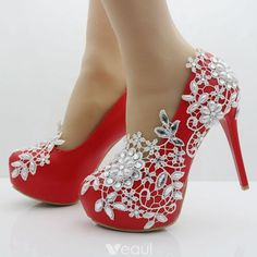 Buy Women Sweet Pearl Flower Lace Platform High-heeled Shoes Wedding Shoes Bride Dress Shoes Single Shoes at Wish - Shopping Made Fun Bling Shoes, Fancy Shoes, Crazy Shoes, Red Shoes, Me Too Shoes, Wedding Pumps, Wedding Shoes Bride, Wedding Boots, Bridal Shoes