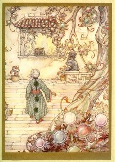 Anton Pieck - Stories from the Arabian Nights - Aladdin on a staircase