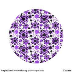 Purple Floral Teen Girl Party Paper Plate  sc 1 st  Pinterest & Hot Pink Black Floral Flower Abstract Teen Girl Paper Plate   Party ...