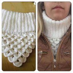 golas de trico Knitted Child Bentie Pompom Beanie - by - Strickmuster Mtze Crochet Cowl Free Pattern, Crochet Poncho, Crochet Scarves, Crochet Clothes, Crochet Baby, Knitting Patterns, Crochet Patterns, Crochet Ideas, Cowl Patterns