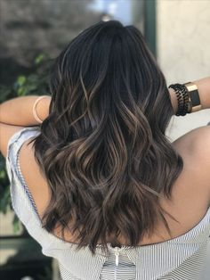 black hair with dark ash brown balayage to stand out