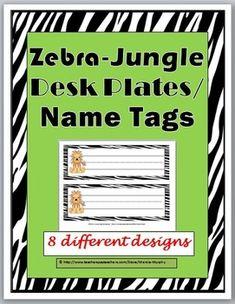 Jungle Zebra Themed Desk Plates Name LabelsThis