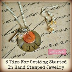 3 Tips For Getting Started Making Hand Stamped Jewelry {A Guest Post For Cousin Corporation} Spoon Jewelry, Keep Jewelry, Diy Jewelry Making, Metal Jewelry, Jewelry Art, Jewelry Ideas, Hand Stamped Metal, Hand Stamped Jewelry, Handmade Jewelry