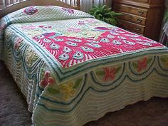 1940's - Peacock chenille bedspread-light aqua background- with reds, yellow and white chenille