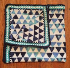 Blue Triangle Baby Blanket with Square Edging, fleece baby blanket, fleece blanket, crochet baby blanket, crochet blanket, crochet edge by StitchesBySullivan on Etsy