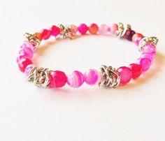 Pink Gemstone Bracelet Pink Agate Healing Crystal by beprettybeyou, $22.00