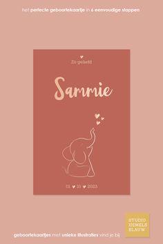 Dit is een ontzettend lief geboortekaartje voor een meisje. Je kunt hier natuurlijk ook eenvoudig een jongenskaartje van maken. De olifant op een geboortekaartje is de trend van nu! #studiohemelsblauw #geboortekaartje #geboortekaartjes #foliedruk #roséfolie #olifantje Movie Posters, Film Poster, Billboard, Film Posters