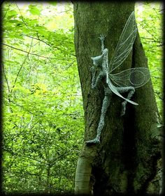 Fantasy Wire Fairies Sculptures....kids could make these by wrapping action figures or dolls with wire!