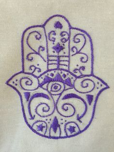 purple hand-embroidered hamsa flour sack dish towel 45 TL, 15 euro Purple Hands, Hamsa Hand, Dish Towels, Cushion Covers, Euro, Artisan, Cushions, Kids Rugs, Fabric