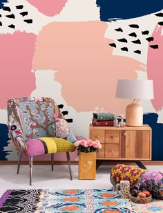 Birds in the pink sky • Living room - Contemporary - Abstraction - Wall Murals • Pixers® • We live to change