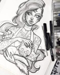 Art by graphicartery because I'm a fan of the two headed cat and hollow eyes… Art And Illustration, Tattoo Drawings, Art Drawings, Sketch Tattoo, Cat Tattoo, Arte Obscura, Desenho Tattoo, Drawing Sketches, Eye Sketch