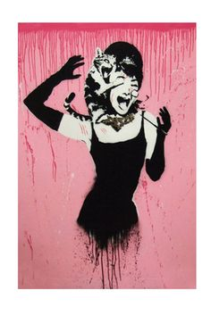 Banksy- Audrey Hepburn Attacked by Cat. As much as i love Audrey- i thought this was a little funny play on Breakfast at Tiffany's poster