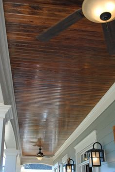 Wood Planked Porch Ceiling For Outdoor Patio.