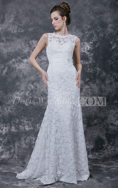 Gracious Sleeveless Sheath Dress in All-over Lace and Satin Sash
