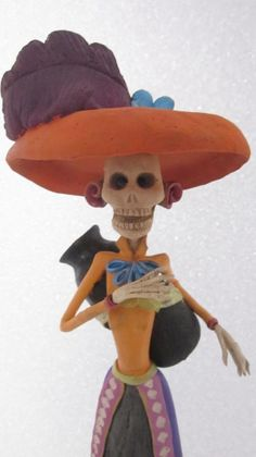CATRINA mexican folk art day of the dead halloween doll   eBay