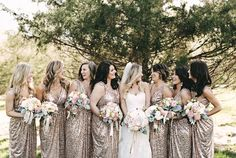 Love these gold bridesmaid dresses - so chic! View more from this glamorous gold Memphis wedding at @springcrkranch with wedding dress by @mlbridal! Pics: @KellyGinn22 | The Pink Bride® www.thepinkbride.com