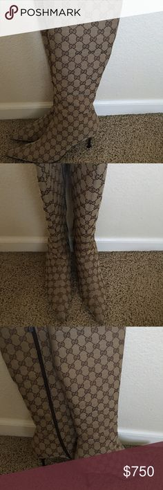 Gucci boots Brown signature GG boots, with zipper on the side, kitten heel.  Boots are in excellent condition only worn about 4 or 5 times Gucci Shoes Heeled Boots