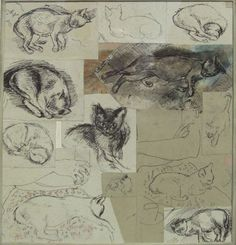 Ruskin Spear is a well-known portrait painter, people in pubs and cats populate his works. One of the cats must have been his own, Trixie. Using broad brush Abstract Drawings, Cool Drawings, Collages, Cat Sketch, Art Sketchbook, Medium Art, Artist At Work, Crazy Cats, Cat Art