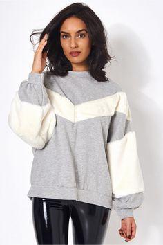 Grey Faux Fur Sweatshirt