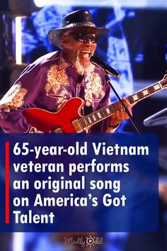 Robert Finley has proved he is one of the coolest guys alive. At a young 65-years-old he plays his original song 'Age Don't Mean A Thing' on America's Got Talent. He easily captured the hearts of the judges and audience with his charming voice. Several judges were mesmerized by his performance. #agt #song #guitar #music #veterans 65 Years Old, Year Old, America's Got Talent Videos, Red Electric Guitar, Vietnam Veterans, Judges, Original Song, Plays, The Voice