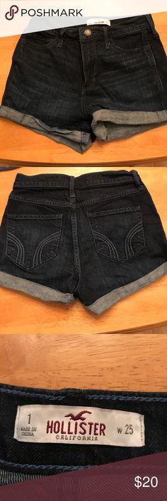 HOLLISTER girls shorts waist 25 size 1 HOLLISTER girls shorts waist 25 size 1 dark blue denim Hollister Shorts Jean Shorts
