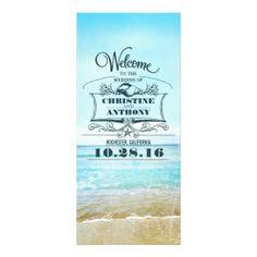 romantic beach wedding programs personalized rack card