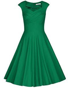 MUXXN Women's 1950s Vintage Retro Capshoulder Party Swing Dress (XL, Green)