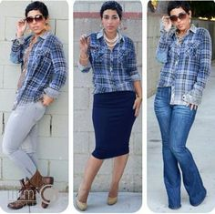 1 shirt, 3 ways. She's FAB and sews mostly ALL the clothing she wears;) It's @mimigoodwin21/www.mimigstyle.com!