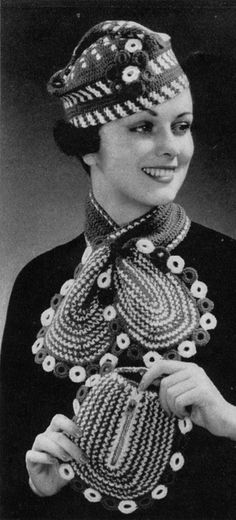 1930s Ladies' Hat Scarf and Bag Set