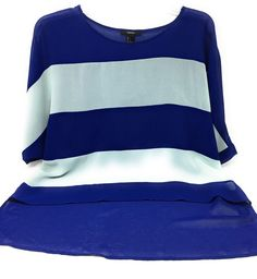 FOREVER 21 High Low Blouse Striped Blue Light Blue Size Small #FOREVER21 #Blouse