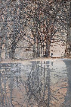 Mary Anne Aytoun Ellis   Dipping Pond. Egg Tempera and Sepia Ink on Panel