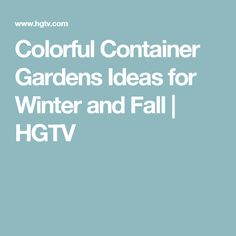 Colorful Container Gardens Ideas for Winter and Fall | HGTV