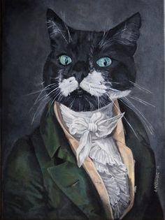 vendu tableau peinture portrait animalier chat animal humanis en costume toile animaux et. Black Bedroom Furniture Sets. Home Design Ideas