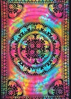 Indian Elephant Tie Dye Hippie Gypsy Bohemian Psychedelic Multi-Color Handmade Tapestry - A Perfect Gift for all the age groups and it is perfect for both indoor and outdoor use.