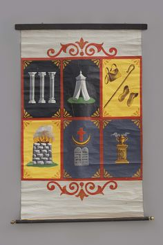 """INDEPENDENT ORDER OF ODD FELLOWS ENCAMPMENT DEGREE TRACING BOARD / Possibly the Henderson-Ames Company, Kalamazoo, Michigan, 1875–1925, paint on canvas with wood, 66 1/2x39 1/2"""", collection American Folk Art Museum, New York, gift of Kendra and Allan Daniel, 2015.1.32. Photo by José Andrés Ramírez"""