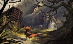The Art of Dan Sprogis: On The Hill - Final Illustration   Process GIF via PinCG.com