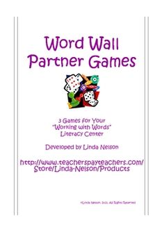 Here are 3 free partner games for your young students. They'll get lots of practice reading and writing the words on your own Word Wall. Although a...